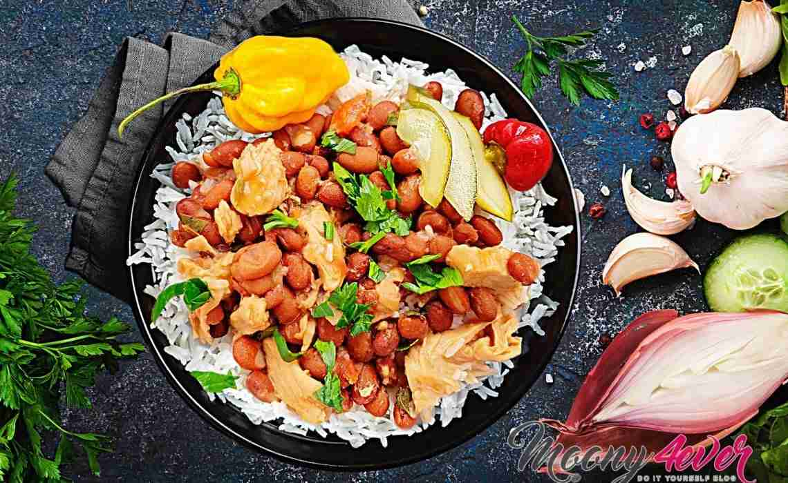 bruine bonen met rijst & zoutvlees recept